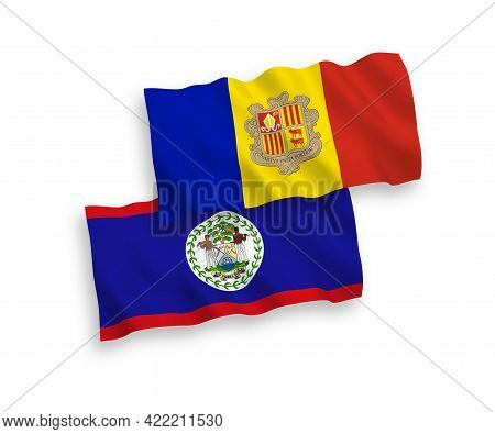 National Fabric Wave Flags Of Belize And Andorra Isolated On White Background. 1 To 2 Proportion.