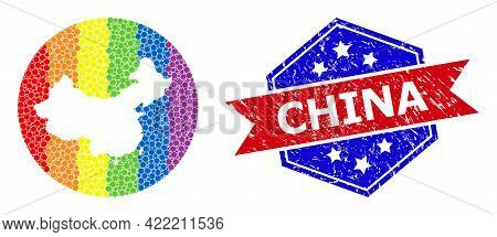 Dotted Bright Spectral Map Of China Mosaic Created With Circle And Hole, And Textured Seal Stamp. Lg