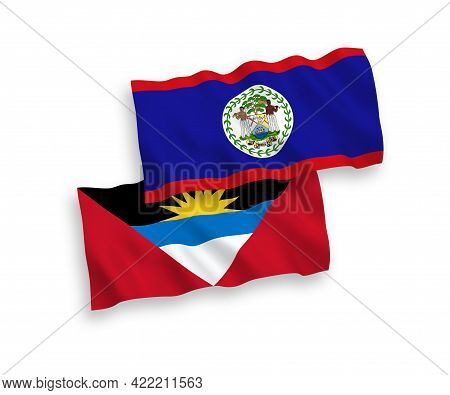 National Fabric Wave Flags Of Belize And Antigua And Barbuda Isolated On White Background. 1 To 2 Pr