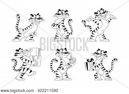 Vector Collection Of Happy Tiger Character Smile And Greeting, Deliver Packages, Drink Coffee, Carry
