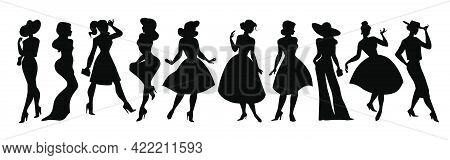 Set Of Stylish Lady Black Silhouettes Standing In Row Isolated. Beautiful Models Wearing Different D