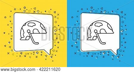 Set Line Military Helmet Icon Isolated On Yellow And Blue Background. Army Hat Symbol Of Defense And