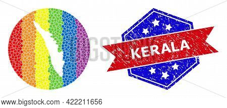 Pixel Rainbow Gradiented Map Of Kerala State Mosaic Designed With Circle And Cut Out Shape, And Scra