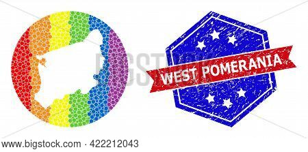 Dotted Rainbow Gradiented Map Of West Pomerania Province Mosaic Formed With Circle And Subtracted Sh