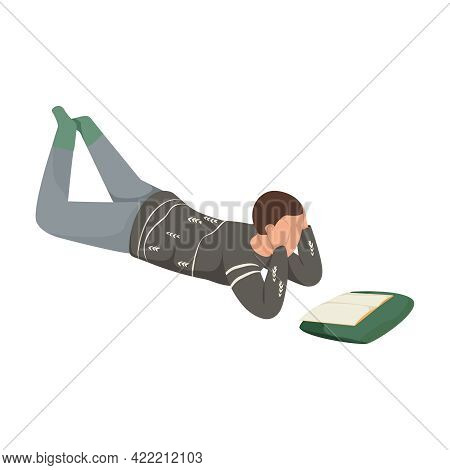Hygge Lifestyle Icon With Man Wearing Warm Sweater Reading Book On Floor Flat Vector Illustration