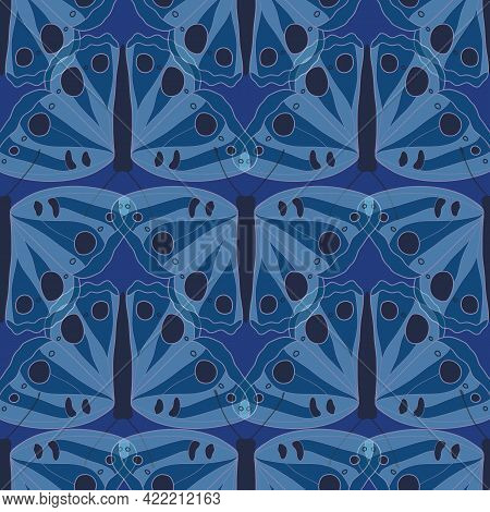 Seamless Pattern With Translucent Blue Butterfly Illustration