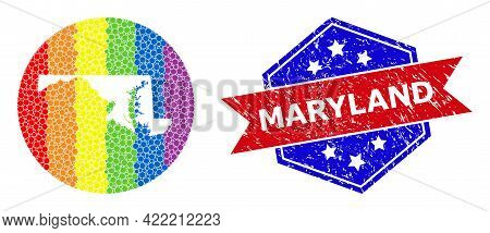Dot Rainbow Gradiented Map Of Maryland State Collage Composed With Circle And Subtracted Space, And