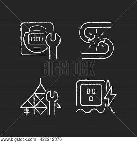 Electrician Service Chalk White Icons Set On Dark Background. Energy Meter Maintenance. Short Circui