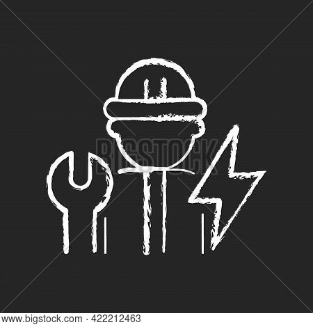 Electrician Chalk White Icon On Dark Background. Electrical Wiring System Installation And Maintenan