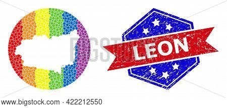 Pixelated Spectrum Map Of Leon Province Collage Designed With Circle And Subtracted Space, And Distr