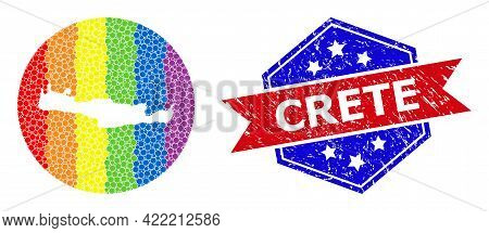 Dot Rainbow Gradiented Map Of Crete Island Collage Designed With Circle And Subtracted Space, And Gr