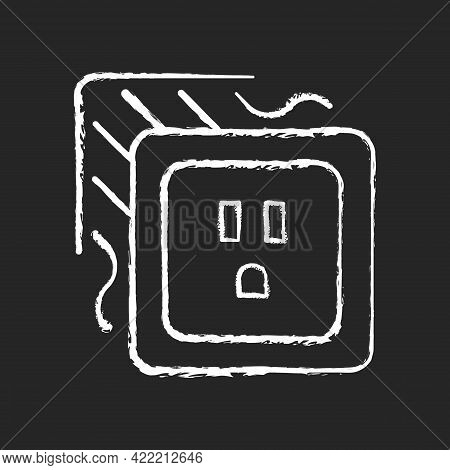 Loose Outlet Chalk White Icon On Dark Background. Electricity Flow Disruption. Fire Hazard Risk. Fau