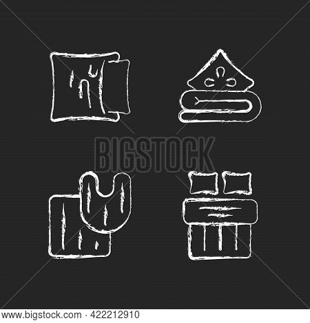 Domestic Textile Chalk White Icons Set On Dark Background. Pillow Case. Linen Bedding. Bathroom Rugs
