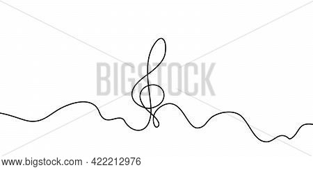 Self Drawing Treble Clef One Line. Simple Black Musical Symbol Of Single Continuous Drawing On White