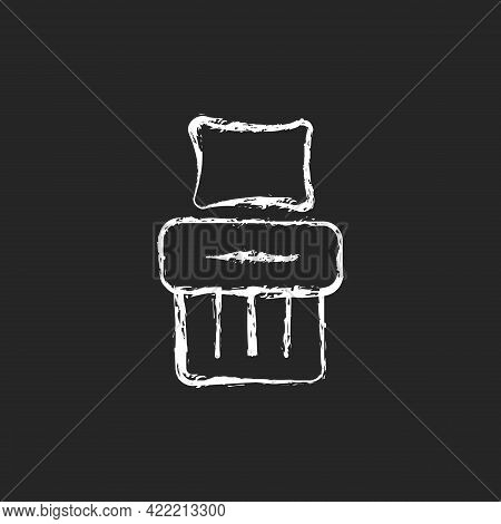 Single Bed Set Chalk White Icon On Dark Background. Blanket With Cushion. Hotel Room For Rest. Comfo