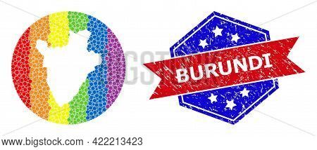 Dot Spectrum Map Of Burundi Mosaic Formed With Circle And Subtracted Shape, And Textured Seal Stamp.