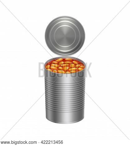 Opened Metal Can With Baked Beans In Tomato Sauce Realistic Icon On White Background Vector Illustra