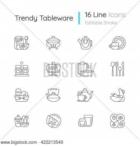 Trendy Tableware Linear Icons Set. Irregular Shape Tableware. Vintage Dinningware. Food Warming Tray