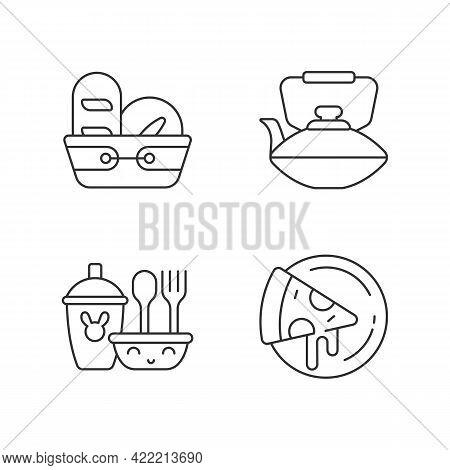 Kitcken Dinnerware Linear Icons Set. Kitchen Bread Basket. Pizza Plates For Pizzerias. Chinese Teapo
