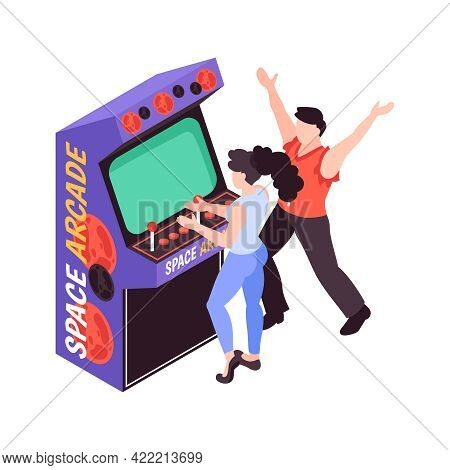 Isometric Icon With Cheerful Teens Playing Space Arcade Game On Retro Machine Vector Illustration