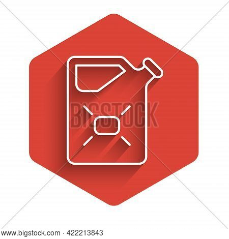 White Line Canister For Flammable Liquids Icon Isolated With Long Shadow. Oil Or Biofuel, Explosive