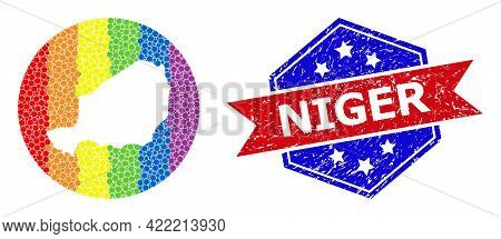 Pixelated Rainbow Gradiented Map Of Niger Collage Created With Circle And Stencil, And Grunge Stamp.