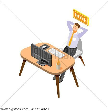 Isometric Icon With Relieved Man Finished His Work In Office 3d Vector Illustration