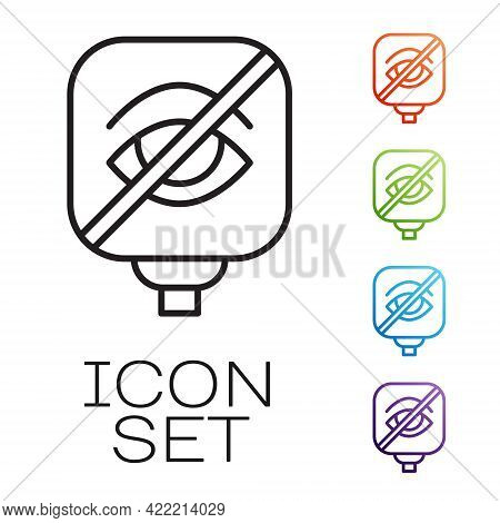 Black Line Blindness Icon Isolated On White Background. Blind Sign. Set Icons Colorful. Vector