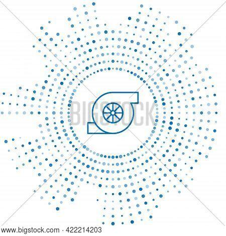Blue Line Automotive Turbocharger Icon Isolated On White Background. Vehicle Performance Turbo. Turb