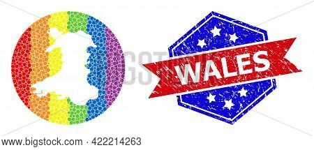 Pixel Rainbow Gradiented Map Of Wales Collage Designed With Circle And Stencil, And Grunge Seal Stam