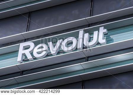 Revolut Logo Signboard On Modern Office Building In Vilnius, Lithuania On May 30, 2021. Revolut Is F