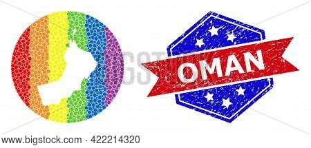 Dot Spectral Map Of Oman Mosaic Created With Circle And Stencil, And Distress Seal Stamp. Lgbtq Rain