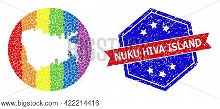 Pixel Spectral Map Of Nuku Hiva Island Collage Designed With Circle And Stencil, And Textured Seal S