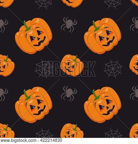 Cute Dark Seamless Pattern With Pumpkins, Cobwebs And Spiders. Halloween Party Decoration. Vegetable