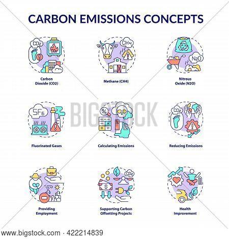 Carbon Emissions Concept Icons Set. Climate Change Idea Thin Line Color Illustrations. Emissions Cal