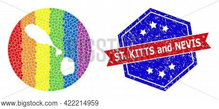 Pixel Spectrum Map Of Saint Kitts And Nevis Mosaic Designed With Circle And Subtracted Shape, And Te