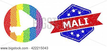 Dot Bright Spectral Map Of Mali Collage Designed With Circle And Subtracted Shape, And Textured Seal