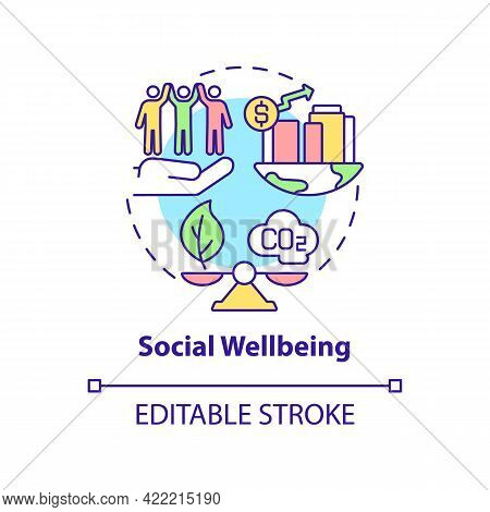 Social Wellbeing Concept Icon. Carbon Offset Abstract Idea Thin Line Illustration. Sustainable Devel