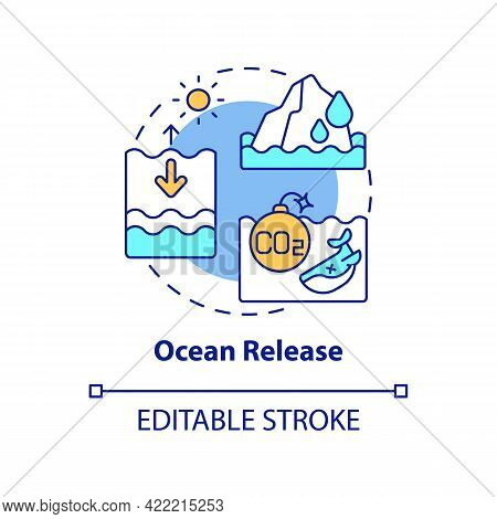 Ocean Release Concept Icon. Natural Carbon Emissions Abstract Idea Thin Line Illustration. Ocean War