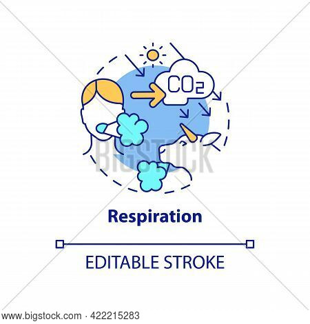 Respiration Concept Icon. Natural Carbon Emissions Abstract Idea Thin Line Illustration. Producing C