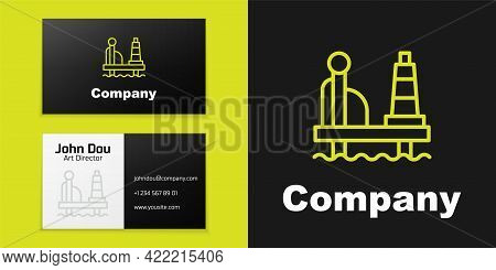 Logotype Line Oil Platform In The Sea Icon Isolated On Black Background. Drilling Rig At Sea. Oil Pl