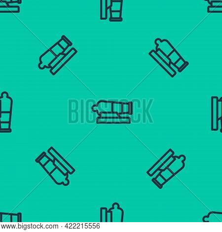 Blue Line Cannon Icon Isolated Seamless Pattern On Green Background. Vector