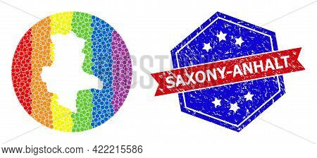 Pixelated Spectrum Map Of Saxony-anhalt State Collage Designed With Circle And Hole, And Distress Ba