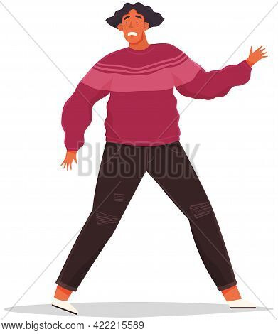 Man With Scared Expression And His Hands In Defenses Position. Scared Guy Is Going To Run Away From