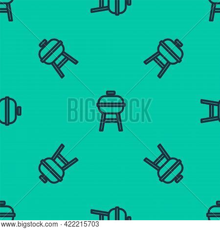 Blue Line Barbecue Grill Icon Isolated Seamless Pattern On Green Background. Bbq Grill Party. Vector