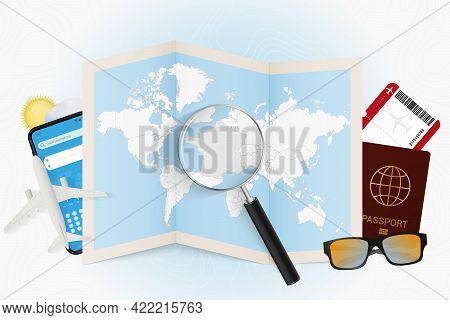 Travel Destination France, Tourism Mockup With Travel Equipment And World Map With Magnifying Glass