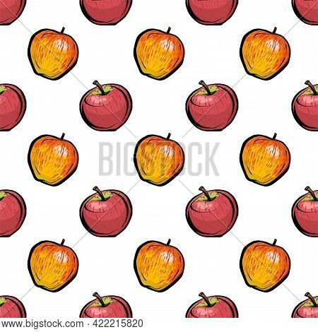 Seamless Pattern. Red And Orange Apples On A White Background. A Rare Polka Dot Pattern. Apples Is A
