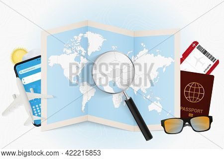 Travel Destination Austria, Tourism Mockup With Travel Equipment And World Map With Magnifying Glass