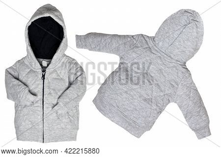 Kids Jacket Isolated. Closeup Of A Trendy Gray Hoodie Jacket Or Cardigan For Boy Isolated On A White