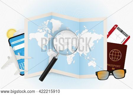 Travel Destination Switzerland, Tourism Mockup With Travel Equipment And World Map With Magnifying G
